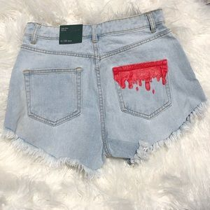 Wild Fable High-Rise Painted Frayed Jean Shorts